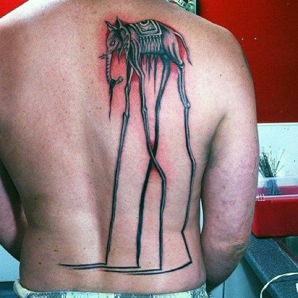 Mens Salvador Dali Elephant Tattoo Design Ideas On Back