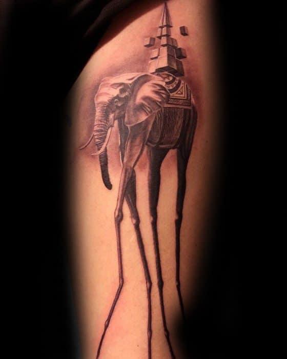Mens Salvador Dali Elephant Tattoo Ideas