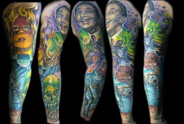 Mens Salvador Dali Tattoo Design Ideas Full Arm Sleeve