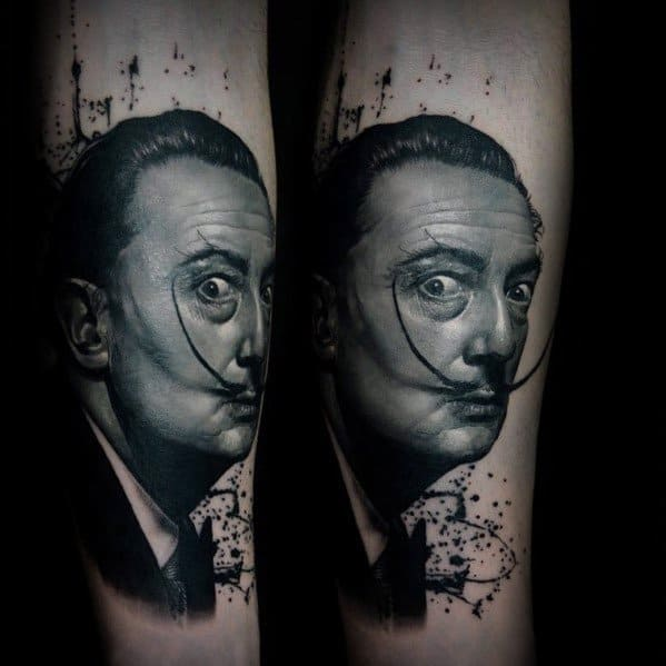 Mens Salvador Dali Tattoo Design Inspiration On Forearm