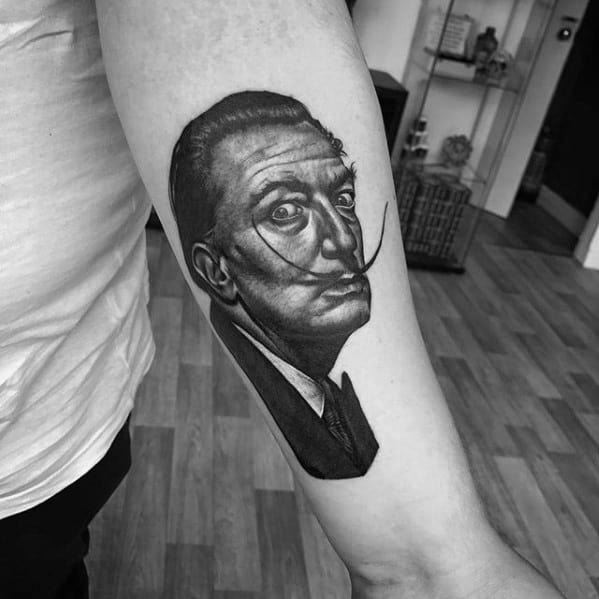 Mens Salvador Dali Tattoo Ideas On Inner Forearm