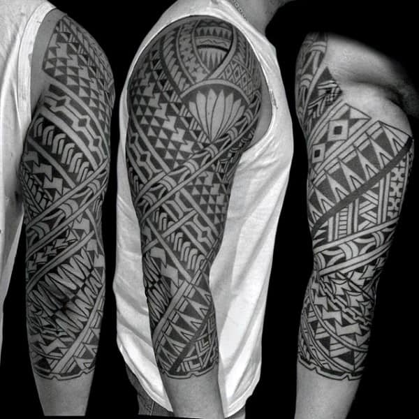 Mens Samoan Half Sleeve Tribal Tattoo