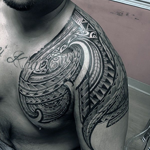 Mens Samoan Tribal Remarkable Chest And Shoulder Tattoos