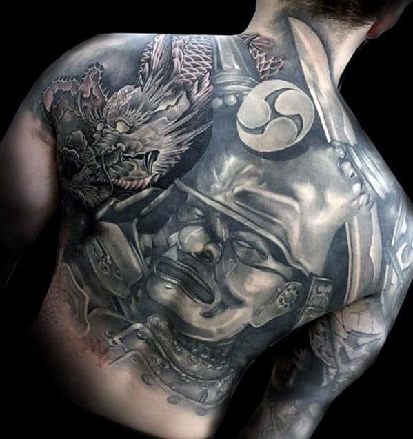 Mens Samuari Dragon Unique Back Tattoo