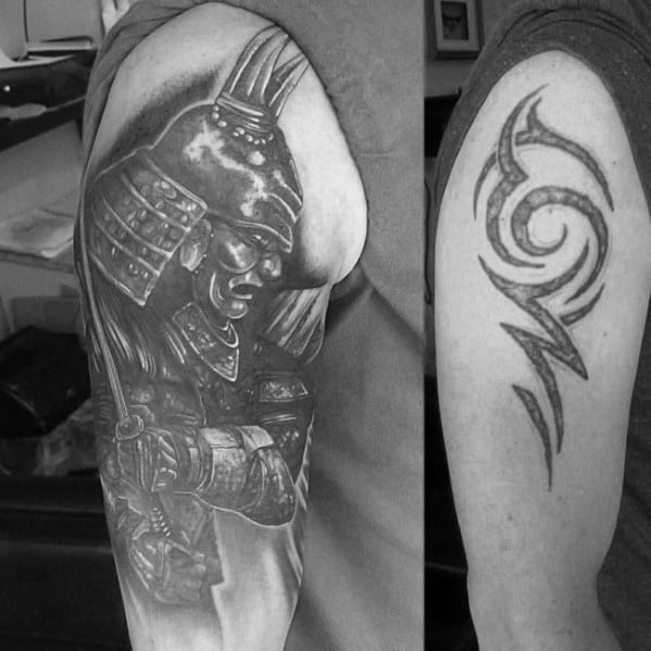 Mens Samuari Shaded Cover Up Tattoo On Arm