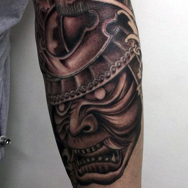Mens Samurai Mask Dark Shaded Forearm Tattoo