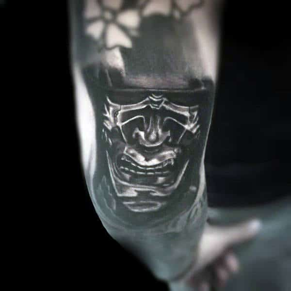 Mens Samurai Mask Shaded Elbow Tattoo