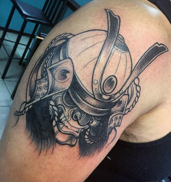 Mens Samurai Mask Simple Upper Arm Tattoo