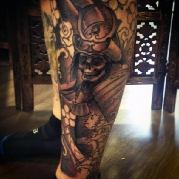 Men's Samurai Tattoo Design On Legs