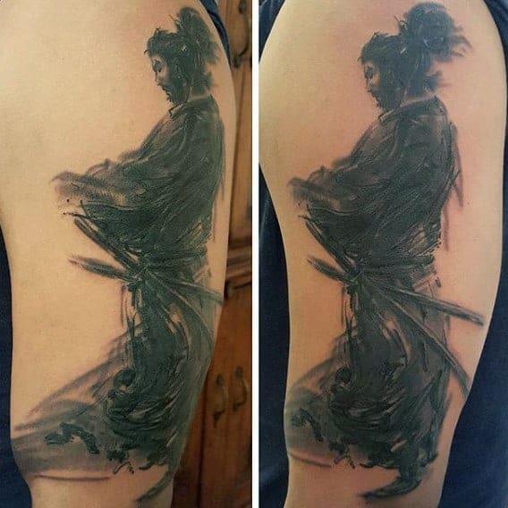 mens-samurai-tattoo-sleeve-on-arms