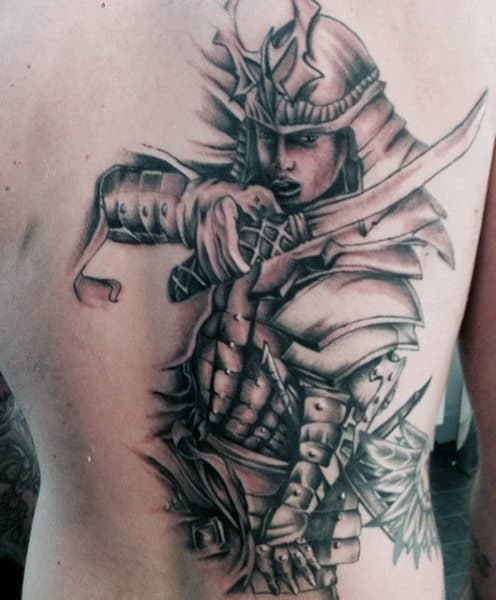 Men's Samurai Tattoos On Back Of Ribs