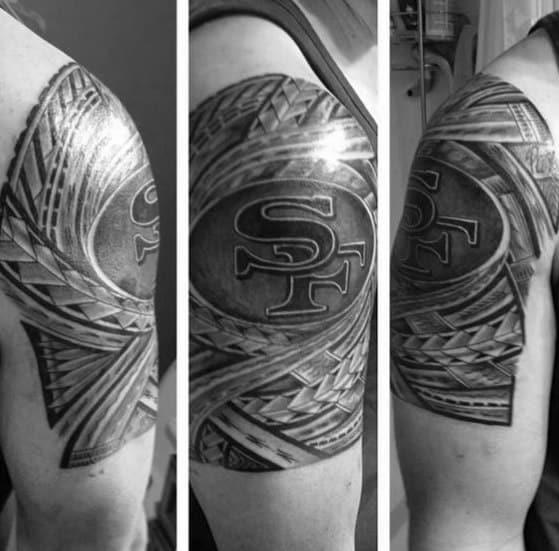 Mens San Francisco 49ers Polynesian Tribal Upper Arm Tattoo