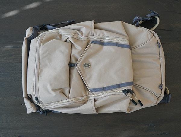 Mens Sand Victorinox Deluxe Rolltop Backpack Front