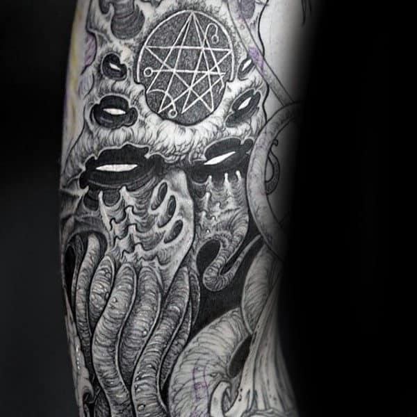 Mens Satanic Cthulhu Arm Tattoos