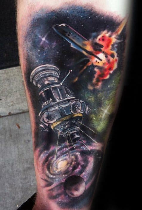 Mens Satellite Outer Space With Space Shuttle Leg Tattoo Design Ideas