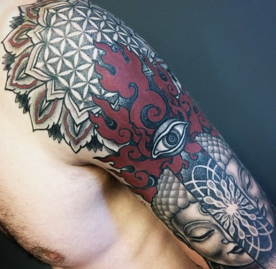 Mens Scared Eye Geometry Tattoo