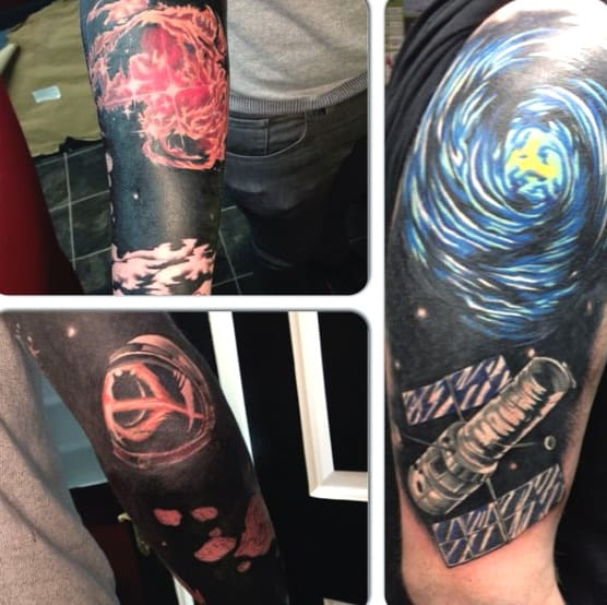 Mens Science Astronomy Tattoos On Arm