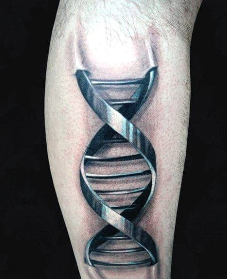 Mens Science Dna Tattoo On Back Of Leg Calf