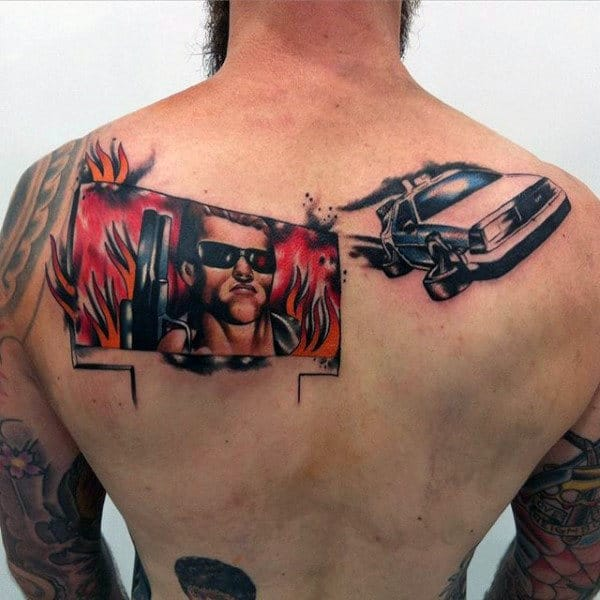 Mens Science Fiction Film The Terminator Back Tattoo