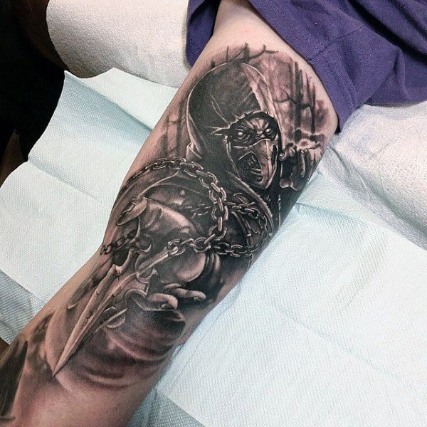 Mens Scorpion Mortal Kombat Tattoo On Arms With Shaded Black And Grey Ink