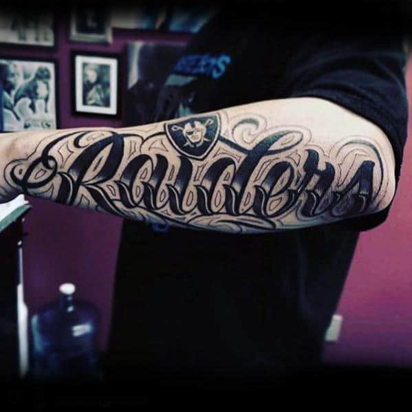Mens Script Oakland Raiders Outer Forearm Tattoos