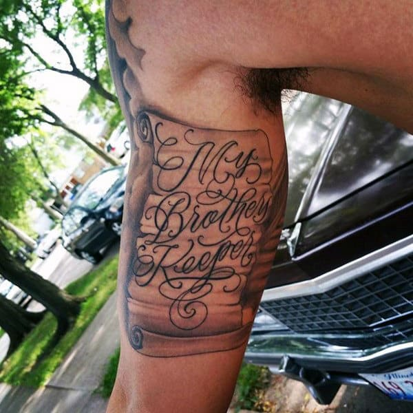 Mens Scroll My Brothers Keeper Inner Arm Bicep Tattoos