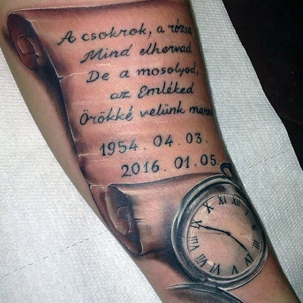 Mens Scroll With Pocket Watch Forearm Tattoo
