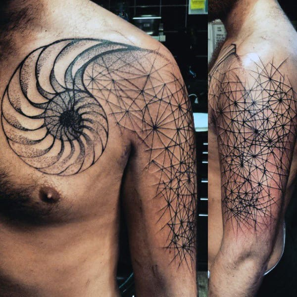Mens Seashell Fibonacci Spiral Arm And Chest Tattoos
