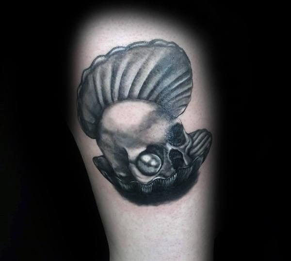 Mens Seashell Tattoo Of Skull With Pearl Eye