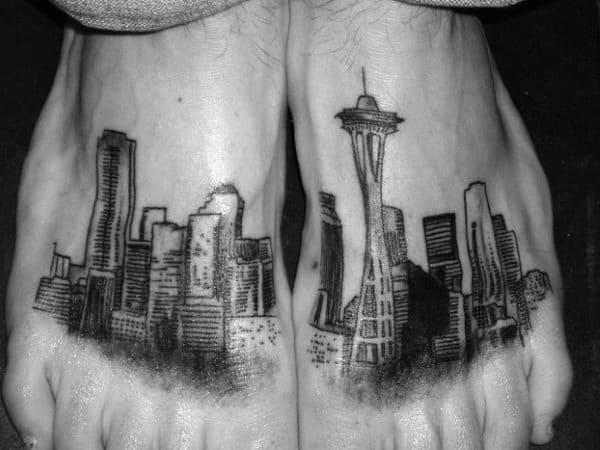 Mens Seattle Skyline Feet Tattoos