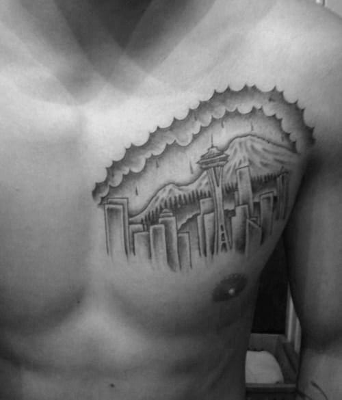 Mens Seattle Skyline Upper Chest Tattoo Ideas