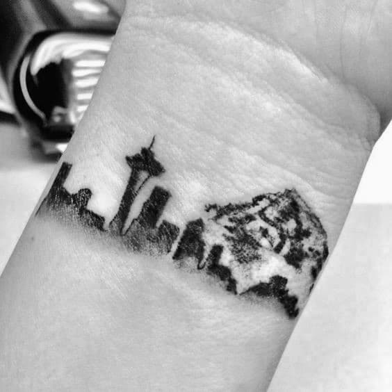 Mens Seattle Skyline Wrist Tattoos