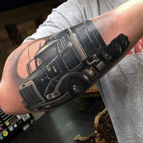 Mens Semi Truck Outer Forearm Tattoo Designs