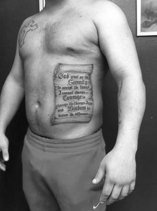 Mens Serenity Prayer Scroll Tattoo Ideas On Rib Cage Side Of Body