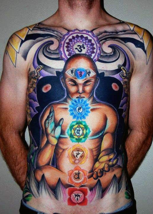 Mens Seven Chakras Full Chest Tattoo
