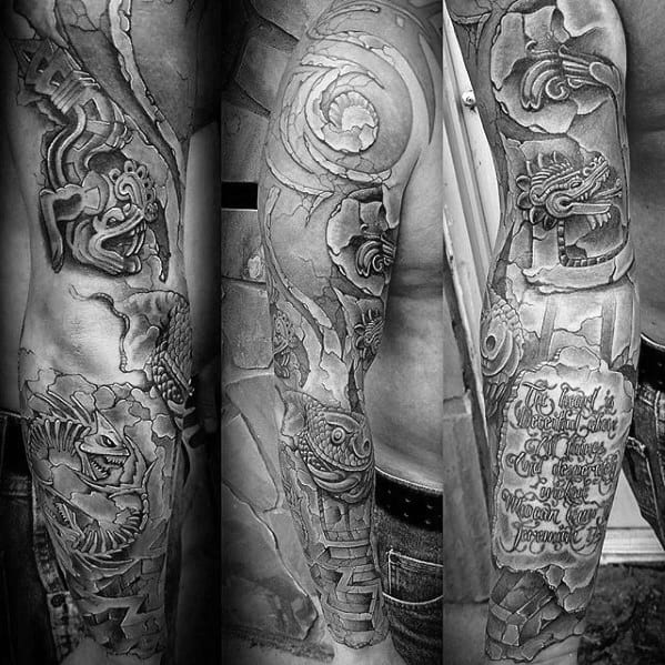 Mens Shaded 3d Tribal Full Arm Sleeve Tattoo