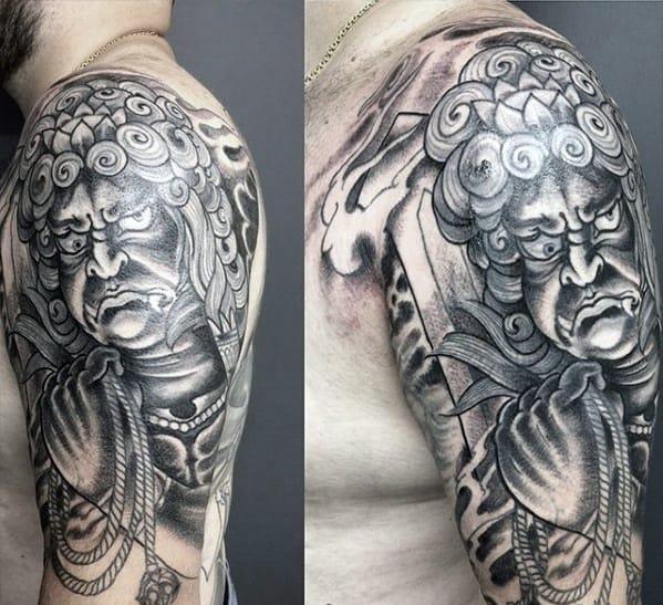 Mens Shaded Arm Tattoo Ideas With Fudo Myoo Design