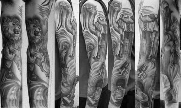 Mens Shaded Black And Grey Camel Sleeve Tattoo Designs