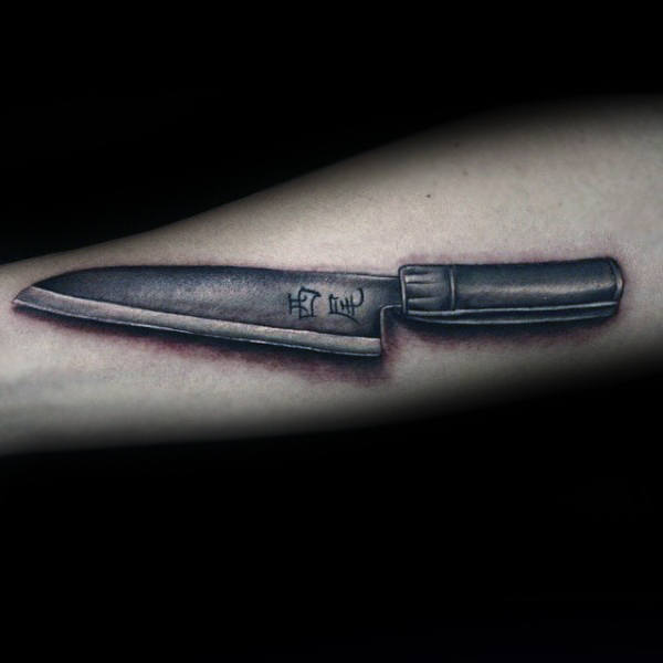 Mens Shaded Black And Grey Ink Chef Knife Tattoos