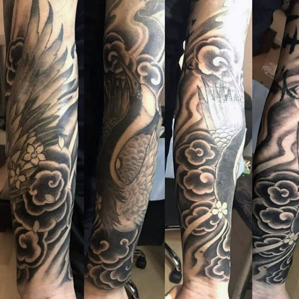 Mens Shaded Black And Grey Ink Japanese Clouds With Flying Crane Tattoo Sleeve