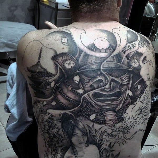 Mens Shaded Black And Grey Ink Samurai Helmet Full Back Tattoos