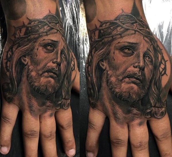 Mens Shaded Black And Grey Jesus Hand Tattoo