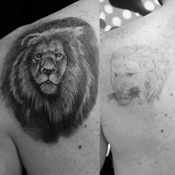 Mens Shaded Black And Grey Lion Tattoo Cover Up Ideas On Shoulder