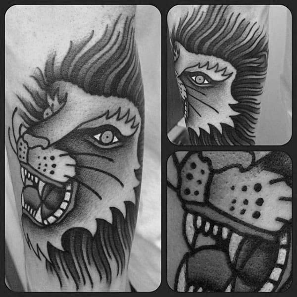 Mens Shaded Black And Grey Lion Traditional Forearm Tattoos