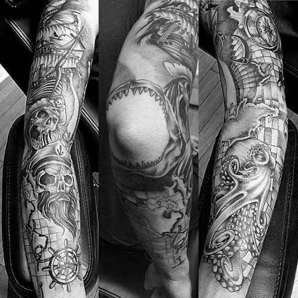 Mens Shaded Black And Grey Nautical Sleeve Tattoo Ideas