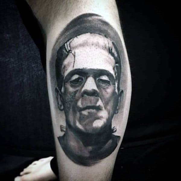 Mens Shaded Black And Grey Portrait Of Frankenstein On Lower Leg