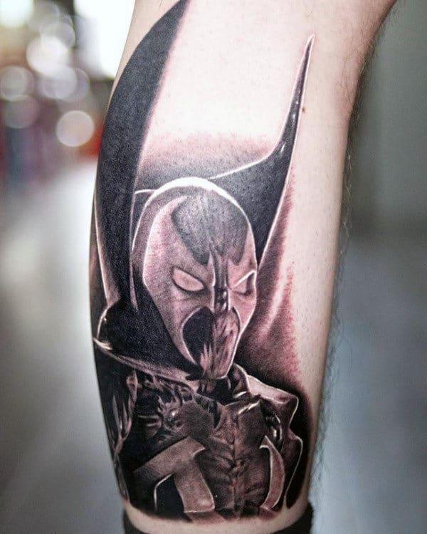 Mens Shaded Black And Grey Spawn Lower Leg Tattoos