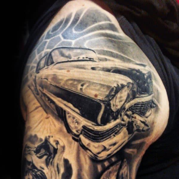Mens Shaded Cadillac Car Shoulder Tattoo Designs