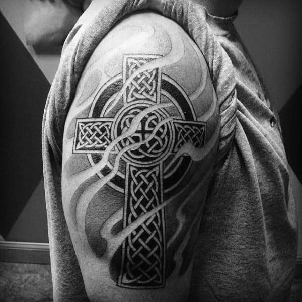 Mens Shaded Celtic Cross Smoking Upper Arm Tattoos