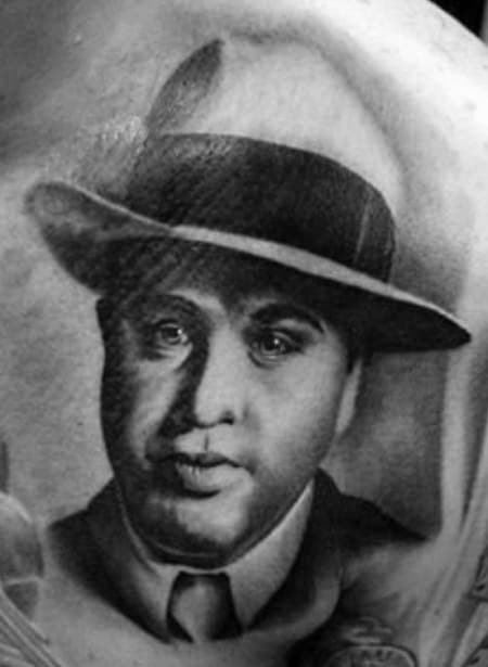 Mens Shaded Chest Al Capone Tattoo Ideas